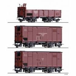 Tillig H0 01273 - Freight car set of the NWE / GHE with one open car and two box cars, Ep. II
