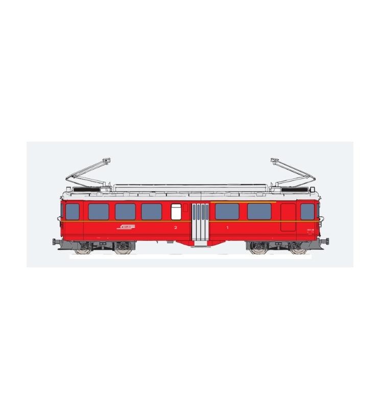 Elektryczny wagon silnikowy RhB, ABe 4/4 II, Nr. 45, Złoty pasek boczny, Epoka III, Skala G, Pullman - ESU 30138