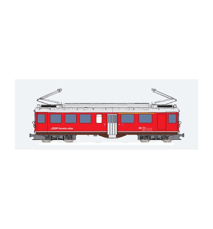Elektryczny wagon silnikowy RhB, ABe 4/4 II, Nr. 44, Srebrny pasek dolny, Epoka V, Skala G, Pullman - ESU 30137