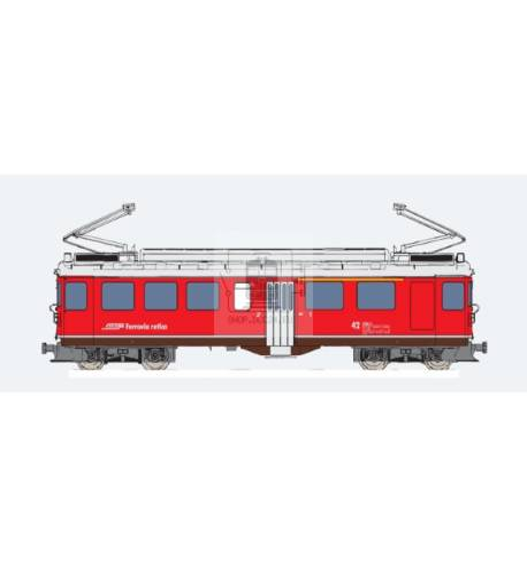 Elektryczny wagon silnikowy RhB, ABe 4/4 II, Nr. 42, Srebrny pasek dolny, Epoka V, Skala G, Pullman - ESU 30136