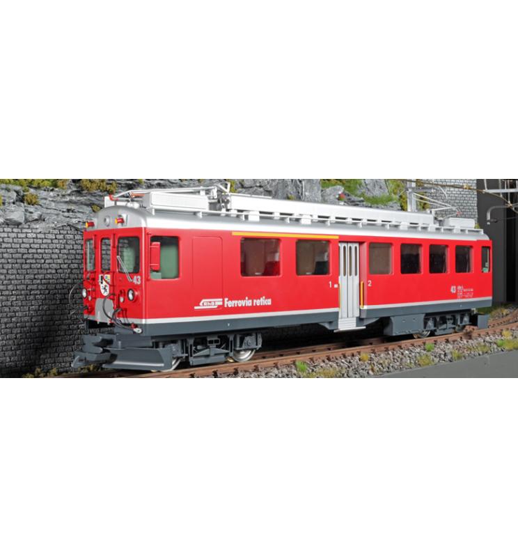 Elektryczny wagon silnikowy RhB, ABe 4/4 II, Nr. 43, Srebrny pasek dolny, Epoka V, Skala G, Pullman - ESU 30130