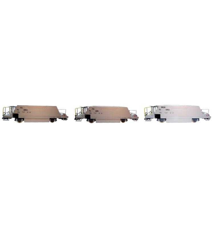 Zestaw szutrówek, (MGB Fd 4852, FO Fd 4851, FO Fd 4853), szary, Epoka V/VI, Skala G,Pullman - ESU 36050