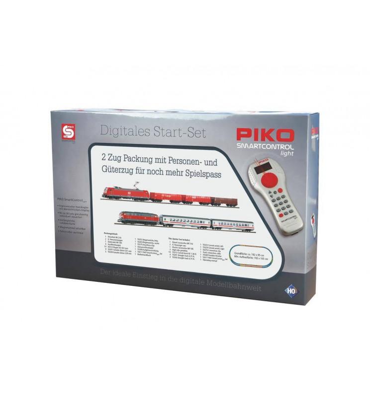 Piko 59013 - podwójny cyfrowy zestaw startowy SmartControl® light BR 185 + BR 218 z torami na nasypie