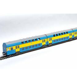Rivarossi HRS4237 Czeroczłonowy zespół wagonów piętrowych, seria Bhp, żółto-niebieski, PKP, Toruń
