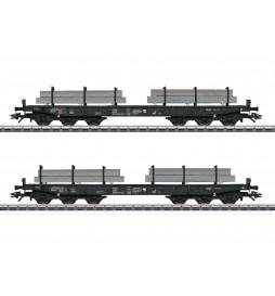 Marklin 048658 - Zestaw 2 ciężkich platform 6-cioosiowych NS z ladunkiem