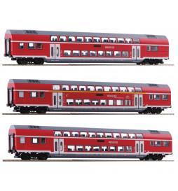 Roco 74137 - Zestaw 3 wagonów piętrowych DB AG
