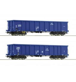 Roco 76044 - Zestaw 2 wagonów odkrytych / węglarek Eanos, PKP Cargo, ep. VI