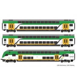Roco 74160 - Zestaw wagonów Kolei Mazowieckich (3 elementy) z wagonem sterowniczym, DCC z dekoderem oświetlenia