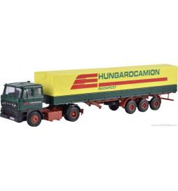 Kibri 14699 - H0 RABA 2-axle tractor with HUNGAROCAMIONtarpaulin semi-trailer