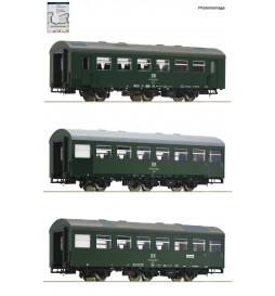 Roco 74070 - Zestaw 3 wagonów pasażerskich Rekowagen (set 1) DR, ep. IV