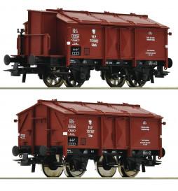 Roco 76043 - 2 piece set: Hinged lid wagons