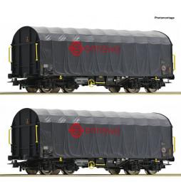 Roco 76039 - Zestaw 2 wagonów plandekowych ERMEWA, ep. VI