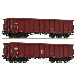 Roco 76038 - Zestaw 2 wagonów odkrytych typu Eaos, PKP, epoka V