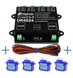 Digikeijs DR4024_BOX - Kompletny zestaw sterowania z 4 serwonapędami: 1x DR4024, 4x DR60030 i 4x DR60035