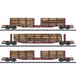 Trix 24146 - Zestaw wagonów do transportu drewna Holztransport
