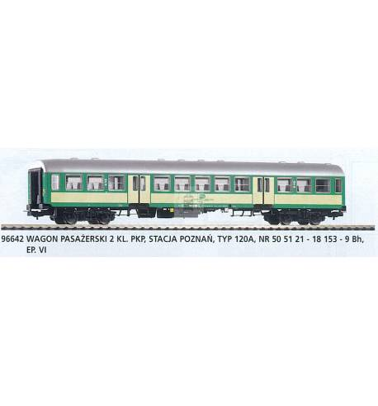 """Wagon pasażerski 2 klasy, 120A """"Bonanza"""" PKP - Piko 96642"""