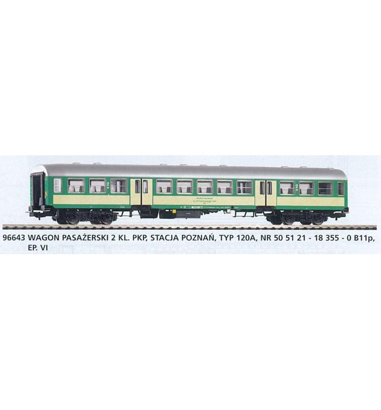 """Wagon pasażerski 2 klasy, 120A """"Bonanza"""" PKP - Piko 96643"""